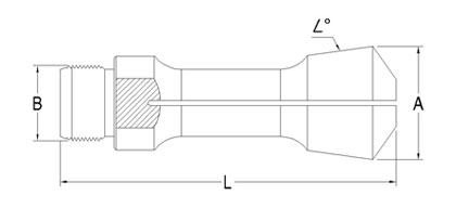 Technical Drawing of 1/2'' Turning Collet