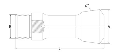 Technical Drawing of 3/4'' Turning Collet