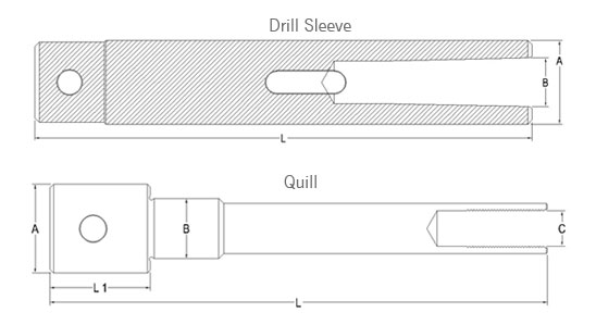 Drill Sleeve / Quill Technical Drawing of Machine Collet A-60