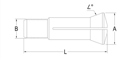 Technical Drawing of Industrial Drill Collet A-3