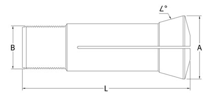 Technical Drawing of Industrial Drill Collet A-4