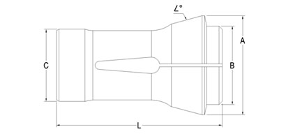 Technical Drawing of Traub Machine Collet A-30