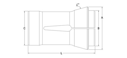 Technical Drawing of Traub Machine Collet A-42
